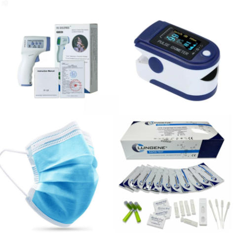 Medmart Health has designed this bundle as a detection kit for COVID-19. In this pack: x1 IT-122 Infrared thermometer-The IT-122 Non-Contact Infrared Thermometer can be used to measure body temperature by aiming the device at the forehead from 5-8cm away for less than 1 second. This non-contact measurement means that the device is not touching the skin, preventing cross-infection. x1 Digital Finger Pulse Oximeter - Oxygen is carried around in your red blood cells by a molecule called haemoglobin. Pulse oximeters measure how much oxygen the haemoglobin in your blood is carrying. This is called the oxygen saturation and is a percentage (scored out of 100). It's a simple, painless test which uses a sensor placed on your fingertip. x10 3ply Disposable Facemasks (50 in a box) - Our disposable 3PLY masks are primarily intended to protect against airborne infective agents originating from the respiratory tract of others as well as against potentially contaminated fluid splashes. x25Lungene Rapid IgG/IgM Antigen Test Kits - The test kit consists of cassettes, droppers, alcohol pads, buffers, lancets and a package insert.